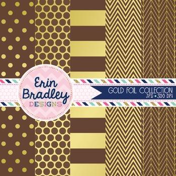 Digital Papers - Gold Foil & Brown