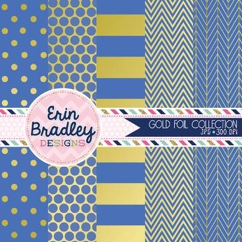 Digital Papers - Gold Foil & Cornflower Blue