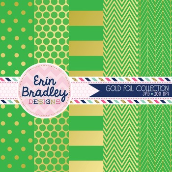 Digital Papers - Gold Foil & Green