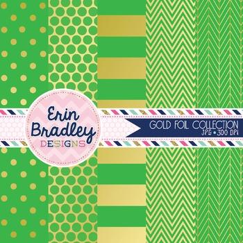 Digital Papers - Gold Foil & Green