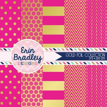 Digital Papers - Gold Foil & Hot Pink