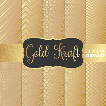 Digital Papers - Gold Foil Kraft Papers