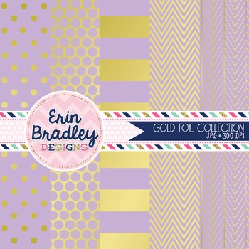 Digital Papers - Gold Foil & Lavender
