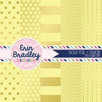 Digital Papers - Gold Foil & Lemon Yellow