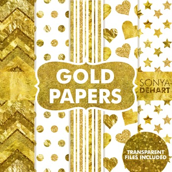 digital papers gold foil metallic glitter paper by sonya dehart design