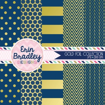 Digital Papers - Gold Foil & Navy