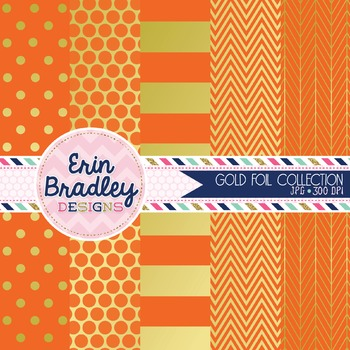 Digital Papers - Gold Foil & Orange