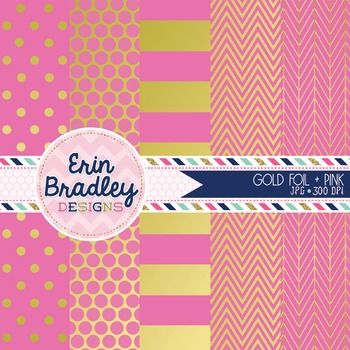 Digital Papers - Gold Foil & Pink