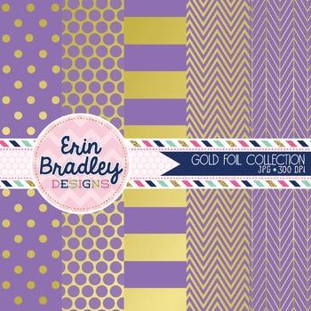 Digital Papers - Gold Foil & Purple