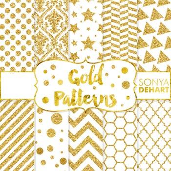 Digital Papers -  Gold Glitter Metallic Foil Paper