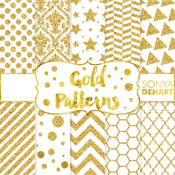 Digital Papers -  Gold Glitter Metallic Foil Paper