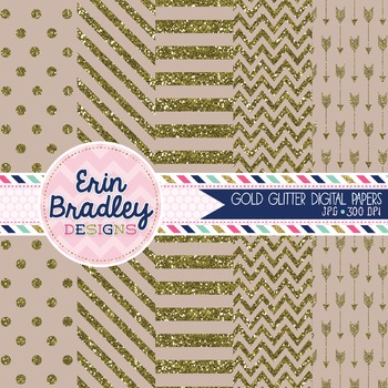 Digital Papers - Gold Glitter and Beige