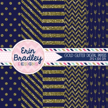 Digital Papers - Gold Glitter and Blue