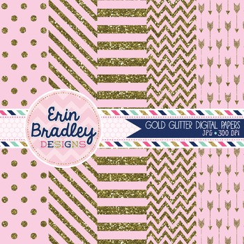 Digital Papers - Gold Glitter and Light Pink