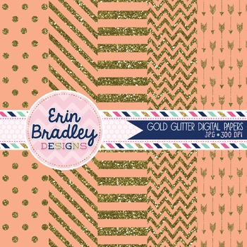 Digital Papers - Gold Glitter and Peach