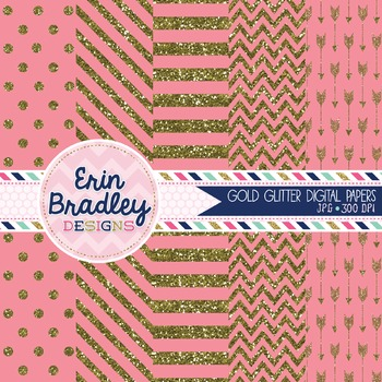 Digital Papers - Gold Glitter and Pink