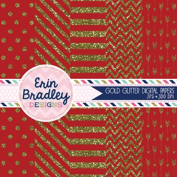 Digital Papers - Gold Glitter and Red