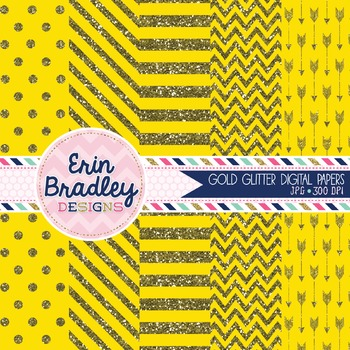 Digital Papers - Gold Glitter and Yellow