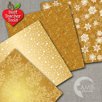 Gold Bokeh Digital Papers, Colored patterns and Backgrounds, AMB-589
