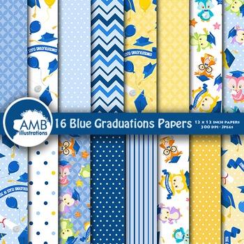 Digital Papers, Graduation Digital Paper, Owl Digital Papers, AMB-1217