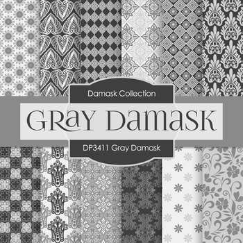 Digital Papers - Gray Damask (DP3411)