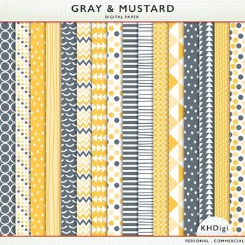 Digital Papers - Gray & Mustard Digital Paper