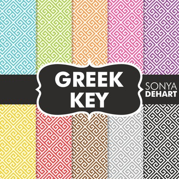 Digital Papers -  Greek Key