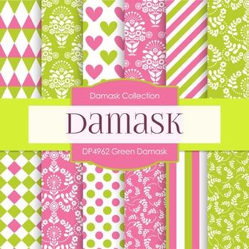 Digital Papers - Green Damask (DP4962)