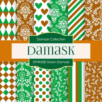 Digital Papers - Green Damask (DP4962B)