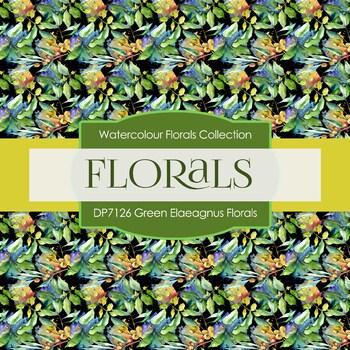 Digital Papers - Green Elaeagnus Florals (DP7126)