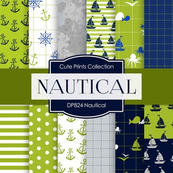 Digital Papers - Green Nautical (DP859)