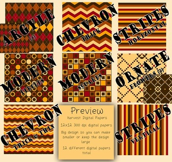 Digital Papers-Harvest {Brown, Tan, Orange, Red, Yellow 300dpi, 12x12}