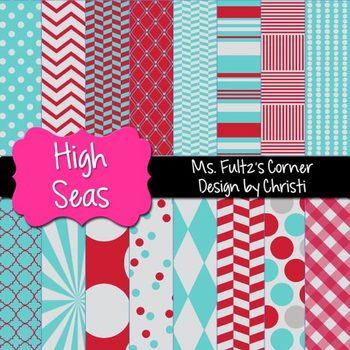 Digital Papers: High Seas Gray, Blue, Red