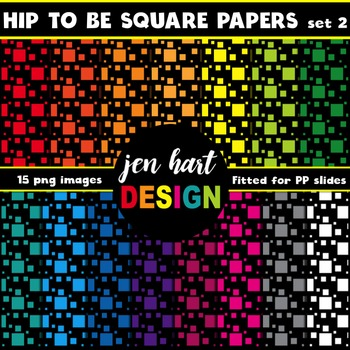 Digital Papers  {Hip To Be Square BUNDLE}