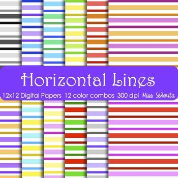 Digital Papers - Horizontal Lines
