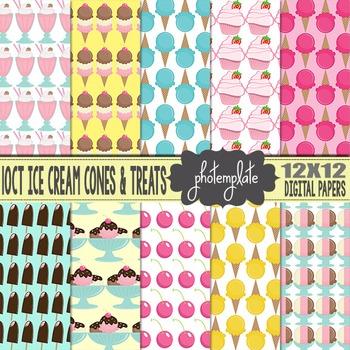 Digital Papers: Ice Cream Cones and Desserts Scrapbooking Paper
