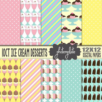 Digital Papers: Ice Cream Desserts Scrapbooking Paper
