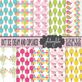 Digital Papers: Ice Cream and Cupcakes Scrapbooking Paper