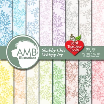 Ivy Digital Papers, Leaf Papers and Backgrounds, Pastel Tonal papers AMB-592