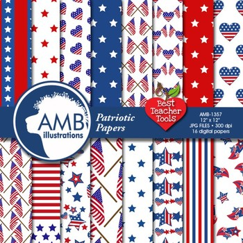Digital Papers, July 4th, Stars and Stripes Digital Backgrounds, AMB-1357