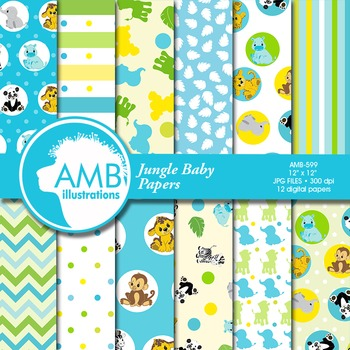 Digital Papers - Jungle Baby Digital paper and backgrounds - AMB-599