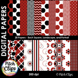 Digital Papers: Ladybug Love - 20 Papers in Red, Black, and White