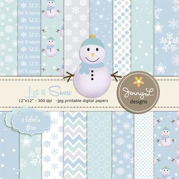 Snowman Christmas Digital Papers
