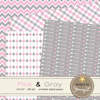 Digital Papers : Light Pink and Gray colors