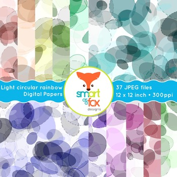 Digital Papers Light Rainbow Pastel Oval Circle Patterns