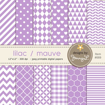 Digital Papers Lilac, Light Violet, Mauve