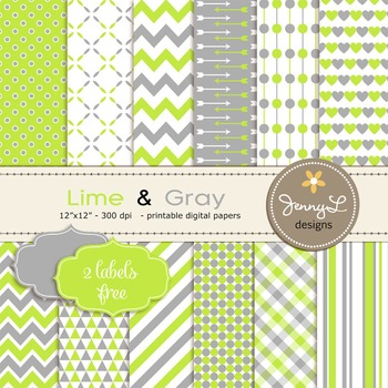 Lime Green and Gray Digital Papers