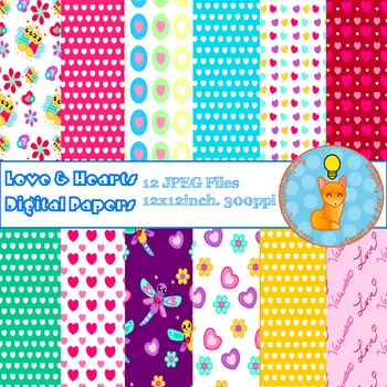 Digital Papers - Love Hearts Love Bugs