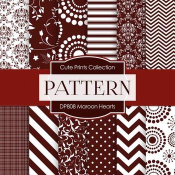 Digital Papers - Maroon Hearts (DP808)