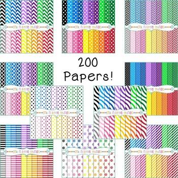 Digital Papers Mega Bundle - 200 Colorful Backgrounds